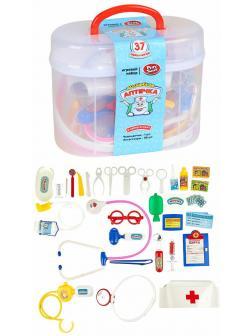 Чемоданчик с набором доктора Play Smart «Волшебная аптечка» 2553 с шапочкой / 37 предметов