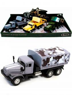 Металлическая машинка WGT Car 1:32 «Грузовик КРАЗ: Военный Фургон» 2217-10, Свет, Звук / Серый
