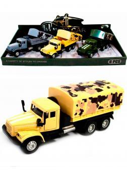 Металлическая машинка WGT Car 1:32 «Грузовик КРАЗ: Военный Фургон» 2217-10, Свет, Звук / Песочный хаки