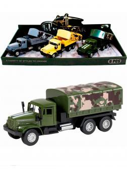 Металлическая машинка WGT Car 1:32 «Грузовик КРАЗ: Военный Фургон» 2217-10, Свет, Звук / Зеленый