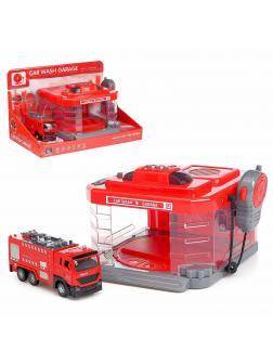 Парковка-Автомойка «Пожарная часть» CLM-886 с машинкой и рацией, поливает водой, световые и звуковые эффекты / Микс
