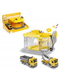 Парковка-Автомойка «Стройка» CLM-889 с машинкой и рацией, поливает водой, световые и звуковые эффекты / Микс