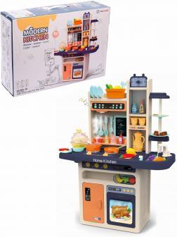 Детская игровая интерактивная кухня Modern Kitchen 889-161, с водой, с паром, 65 аксессуаров, высота 94 см. / Синяя
