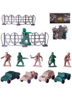 Игровой набор Abtoys Боевая сила 12 предметов (машинки, солдатики, аксессуары)