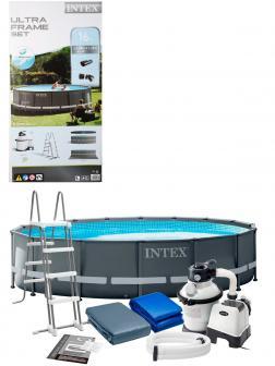 Круглый каркасный бассейн Intex «Ultra XTR Frame» 26326, 488х122 см, фильтр-насос, лестница, подстилка, тент