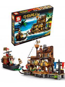 Конструктор SY «Остров штормов: Причал пиратского острова» 1547 / 665 деталей