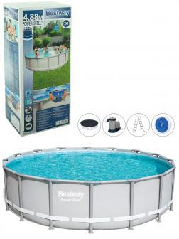 Круглый каркасный бассейн BestWay «Steel Pro Max» 56451 488х122см, фильтр-насос, лестница, тент