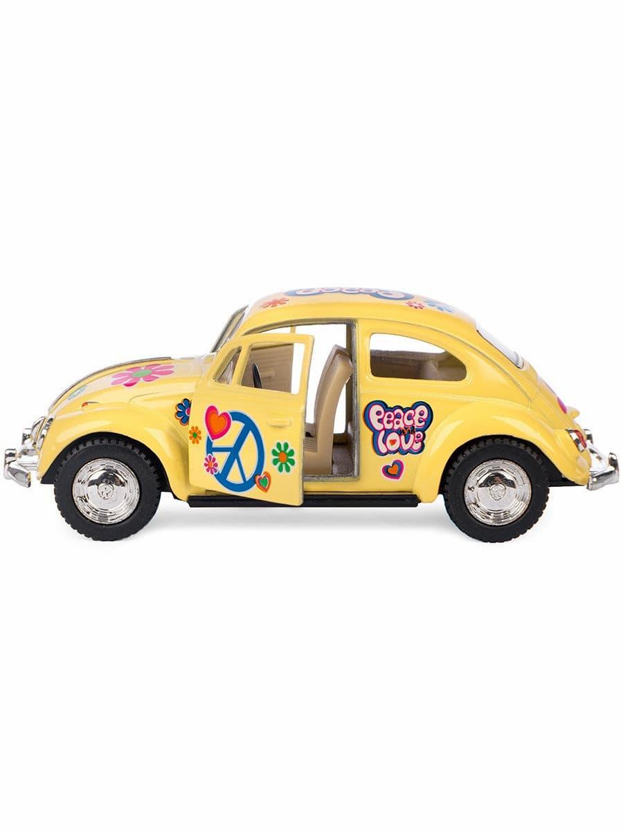 Металлическая машинка Kinsmart 1:32 «1967 Volkswagen Classical Beetle (Пастельные цвета с принтом)» KT5375DF инерционная / Желтый
