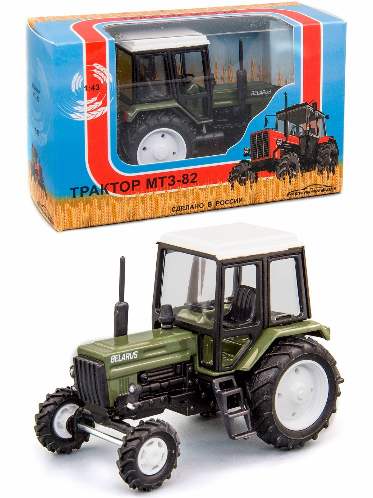 Металлическая модель трактора 1:43 «Люкс-2 МТЗ-82 Belarus» 160368 Зелёный / Белый