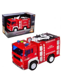 Машинка инерционная ABtoys Пожарная машина со звуковыми и световыми эффектами 1:20, 24x12x15.5 см