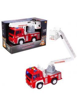 Машинка инерционная ABtoys Пожарная машина с белой лестницей со звуковыми и световыми эффектами 1:20, 24x12x15.5 см