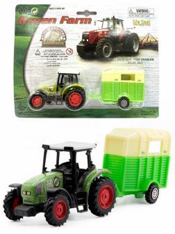 Машинка металлическая Green Farm «Трактор сельскохозяйственным с прицепом для перевозки животных» 402  / Зеленый