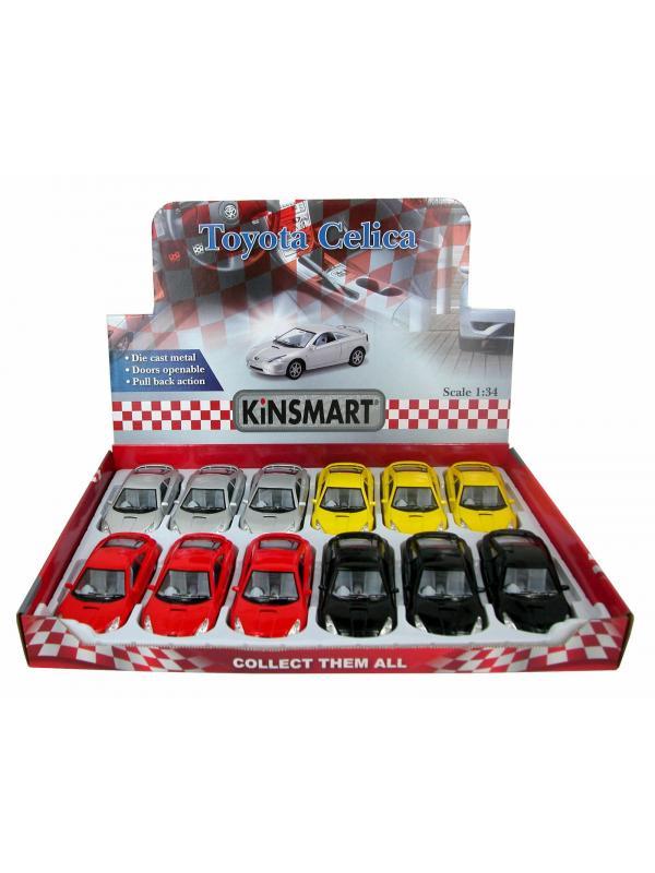 Металлическая машинка Kinsmart 1:34 «Toyota Celica» KT5038D, инерционная / Микс