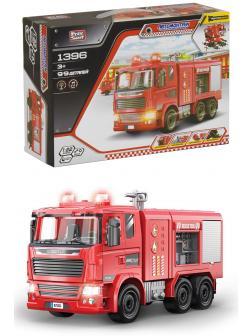 Конструктор с отверткой Play Smart Автомонтаж «Пожарная машина» 1396, 99 деталей, свет и звук