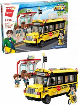 Конструктор Qman «Школьный автобус» 1136 Colorful City / 440 деталей