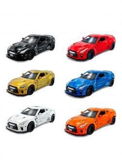 Металлическая машинка Mini Auto 1:34 «Nissan GT-R» 3223B, 15 см. инерционная, свет, звук / Микс