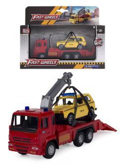 Металлическая машинка Play Smart 1:54 «Эвакуатор Камаз» 15 см. 6509-A Автопарк, инерционный / Красный