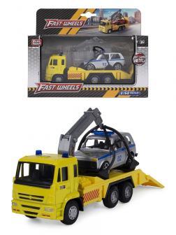 Металлическая машинка Play Smart 1:54 «Эвакуатор Камаз» 15 см. 6509-D Автопарк, инерционный / Желтый