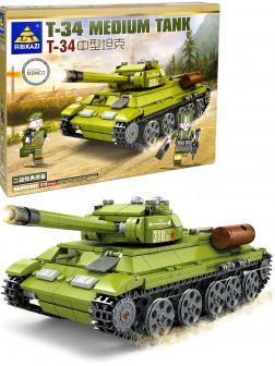 Конструктор Kazi «Средний танк Т-34» KY82043, со светом / 578 деталей