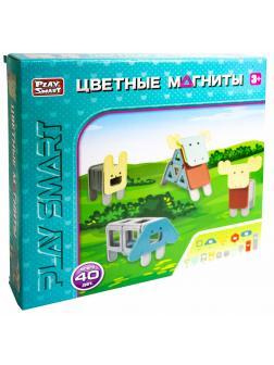Конструктор магнитный Play Smart «Цветные Магниты: Животные» 2468 / 40 деталей