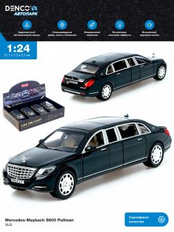 Машинка металлическая XLG 1:24 «Mercedes-Maybach S600 Pullman» M923T 20 см. инерционная, свет, звук / Черный