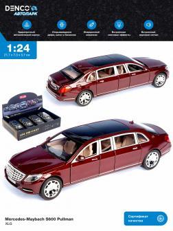 Машинка металлическая XLG 1:24 «Mercedes-Maybach S600 Pullman» M923T 20 см. инерционная, свет, звук / Красный