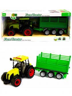 Машинка пластиковая Farm Tractor «Трактор сельскохозяйственным с прицепом» 1188Е-7, свет, звук / Зеленый