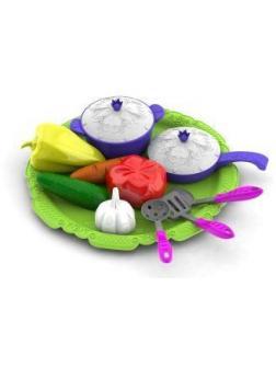 Набор овощей и кухонной посуды Волшебная Хозяюшка,12 предметов на подносе, в ассорт.