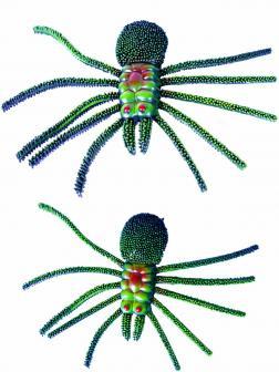 Игрушка Насекомое-тянучка Зеленый Пауки с пищалкой 15 см.  Зеленый 9707W / 2 шт.
