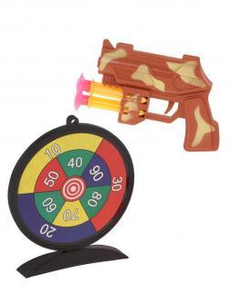 Пистолет, стрелы с присосками 4шт., мишень, пакет, в ассортименте