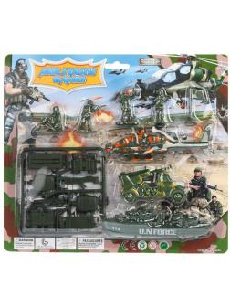 Набор Военный, фигурка, вертолет, машина, корабль, аксессуары