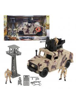 Игр.набор Вооруженные силы, фигурка 3шт., машина, аксессуары, свет, звук, эл.пит.AG13*2шт. не вх.в комплект, коробка