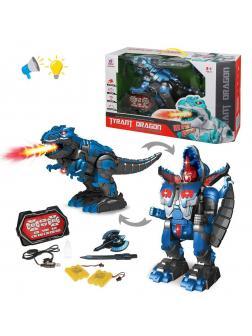 Трансформер Динозавр-робот, ИК управление, свет, звук, в комплекте: меч, щит, аккум.2шт., эл.пит.АА*2шт.не вх.в комплект, коробка, в ассортимен