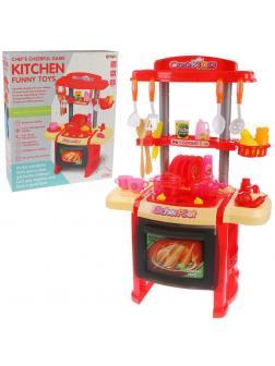 Игровой набор Кухня (красн.), в компл.стойка и 29 аксесс., свет, звук, бат.АА*3шт. в компл.не вх., кор.