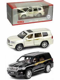 Металлическая машинка XLG 1:24 «Toyota Land Cruiser 200» 16 см. M923W-1 инерционная, свет, звук в коробке / Микс