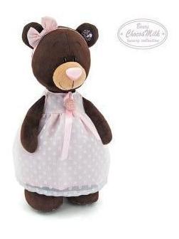 Медведь Milk стоячая в платье с брошью 30