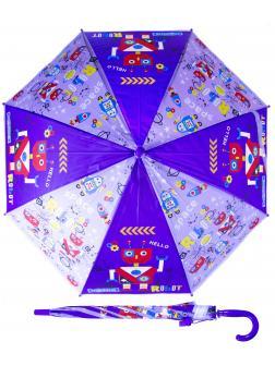 Зонтик детский «Роботы» со свистком, 50 см. 45714 / фиолетовый