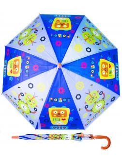 Зонтик детский «Роботы» со свистком, 50 см. 45714 / голубой