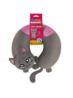 Подушка-Подголовник Кот Серый, 32см
