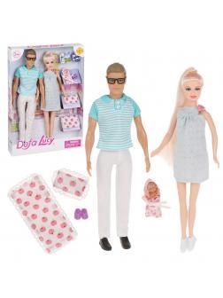 Игровой набор Defa Счастливая семья, в комплете 3 куклы, предметов 5шт, кор