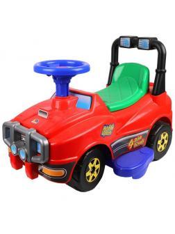 Машина-каталка Джип с ручкой и гудком (красный)