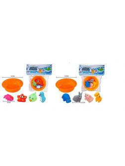 Набор для ванной Abtoys Веселое купание 4 предмета и ванночка, 2 вида, в пакете