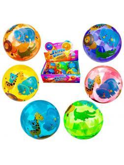 Мячик Junfa 10 см., световые эффекты, в дисплее 6 шт