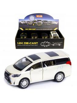 Металлическая машинка XLG 1:24 «Минивэн Lexus LM300h» 20 см. M929М инерционная, свет, звук / Белый