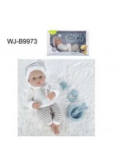 Пупс JUNFA Pure Baby 35см в кофточке, штанишках и шапочке, в коробке