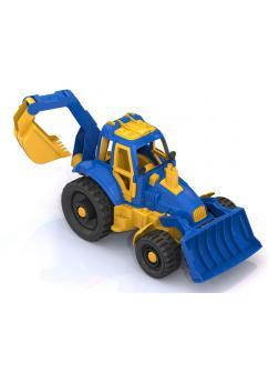 Трактор с ковшом и грейдером (в инд.коробке)