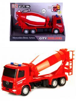 Машина инерционная Play Smart 1:50 «Mercedes-Benz Arocs: Бетономешалка» 6717 Автопарк, свет и звук / Красный