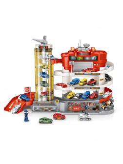 Паркинг «Fire Station» со спиральным лифтом на батарейках, 6 машинок, световые и звуковые эффекты / YDX52-1