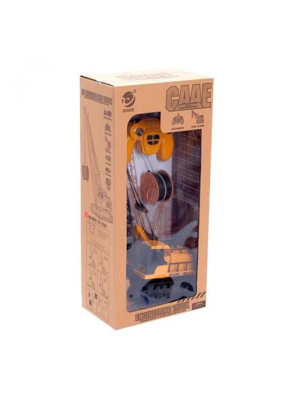 Кран радиоуправляемый «Гусеничный» со световыми и звуковыми эффектами, работает от аккумулятора / 9503