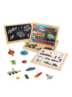 Игровой набор Mapacha Бизи-чемоданчик Транспорт доска для рисования, меловая доска, фигурки на магнитах, 2 игровых фона, инструкция с готовыми играми
